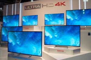 Un bel accueil chez Toshiba avec ce mur d'écrans 4K !