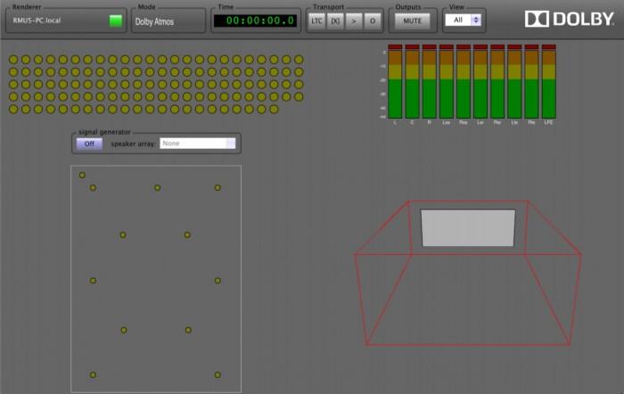 Une image reconstituée du moniteur Atmos (le dernier à droite sur la 1ère image). En haut à gauche, on voit les 118 objets/pistes possibles pouvant être gérés. En haut à droite les 9 canaux « Beds ». En bas à gauche la configuration canaux = enceintes dans notre cas 7.1(2).4. En bas à droite l'emplacement 3D des objets
