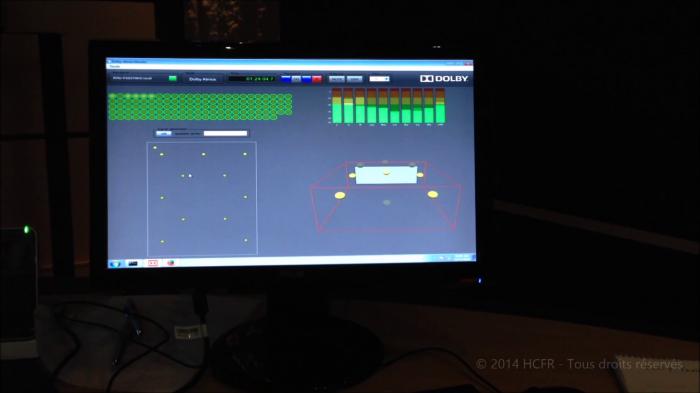 Et un exemple d'affichage en temps réel : les pistes / objets utilisés, le niveau individuel de chaque canal Bed, la répartition de chaque objet dans l'espace
