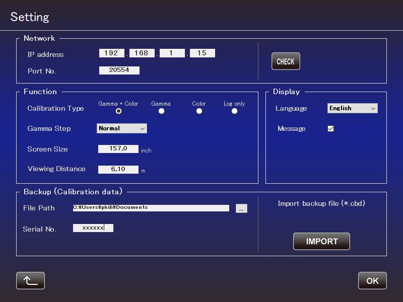 JVC Autocal - Setting