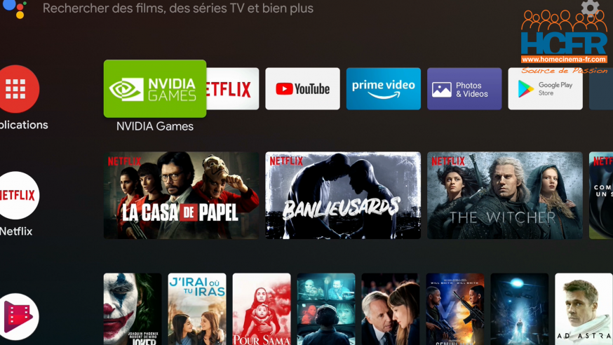 Video HCFR : Nvidia ShieldTV 2019, box TV Androïd – Menus