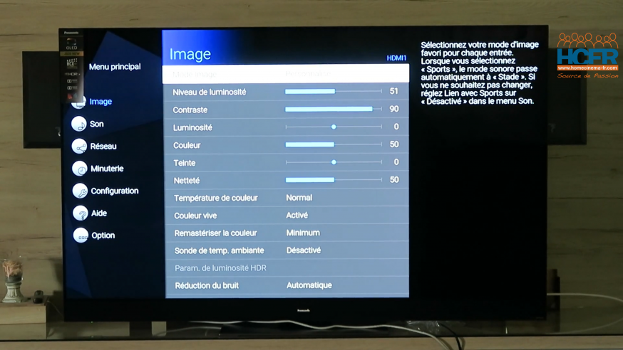 Video HCFR : Panasonic TX-65HZ2000, TV OLED – Menus