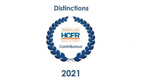 Contributeur HCFR – les personnes distinguées au titre de l'année 2021