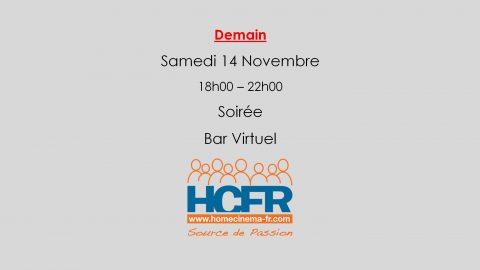 Evénement HCFR – la Soirée Bar Virtuel, Samedi 14 Novembre 18h00 – 22h00, c'est demain