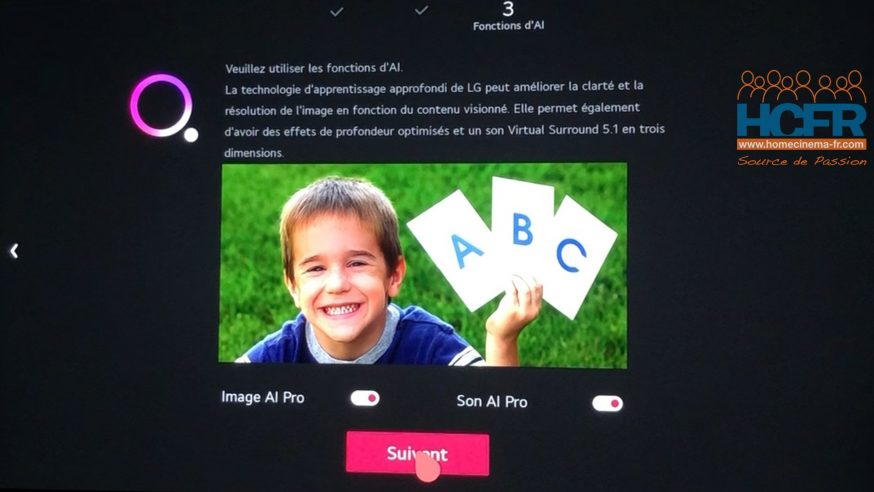 Video HCFR : LG 65CX, Initialisation