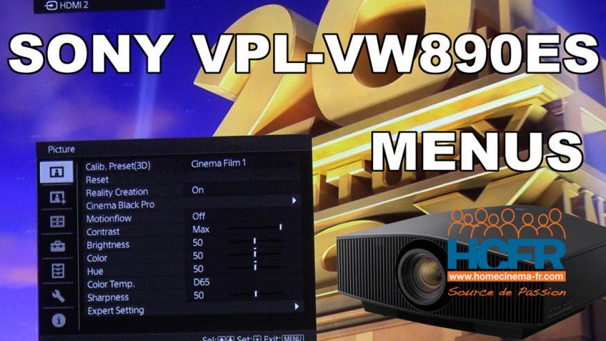 Vidéo HCFR : Sony VPL-VW890ES – Menus